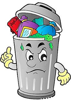 ненужные файлы, бак с мусором
