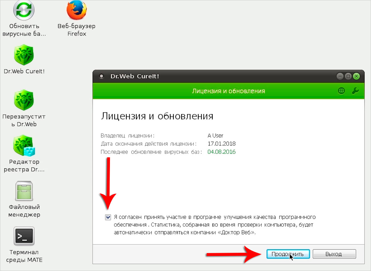 Принятие соглашений в Dr.WebLiveDisk
