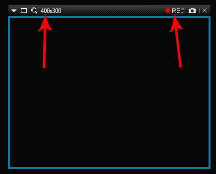 Размер записываемого окна, кнопка REC в Bandicam