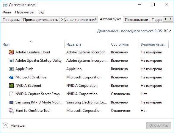 Список программ в автозагрузке Windows 10