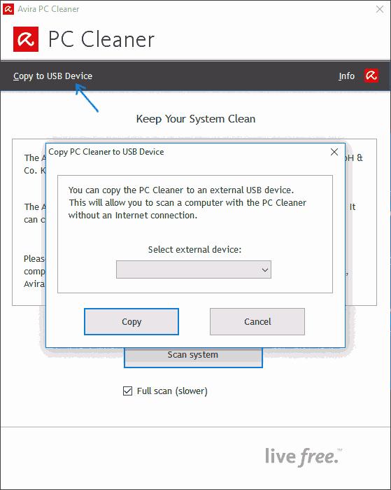 Копирование Avira PC Cleaner на USB