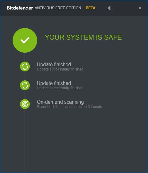 Bitdefender Free Edition для Windows 10 — главное окно