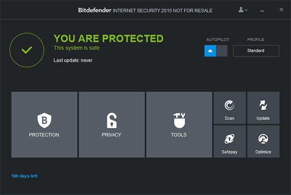 Главное окно Bitdefender Internet Security 2015