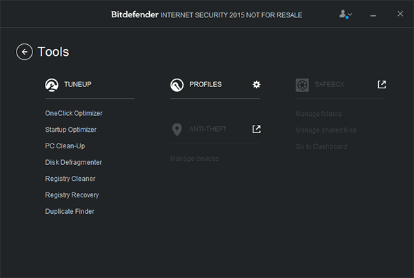 Дополнительные инструменты Bitdefender