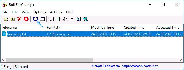 Изменение даты и времени файла в BulkFileChanger