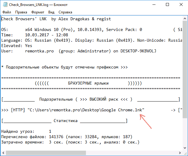 Журнал сканирования Check Browser LNK