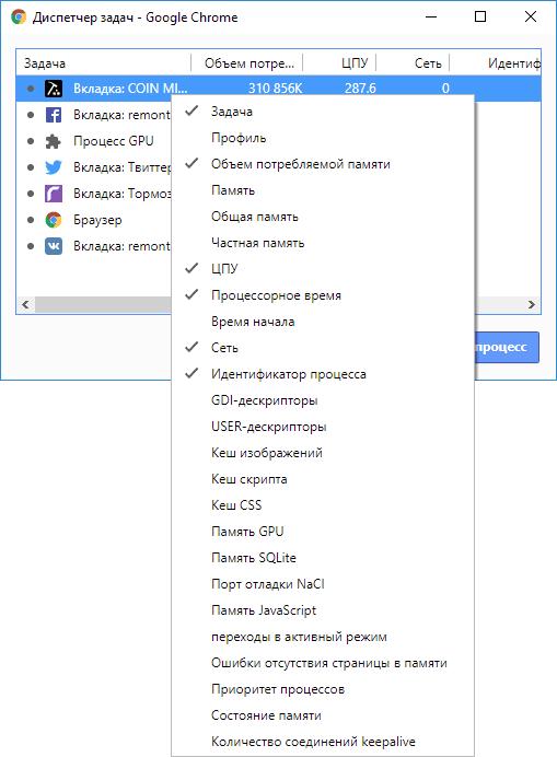 Опции диспетчера задач Chrome