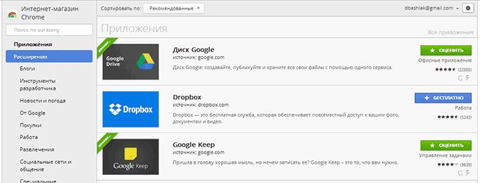 Магазин расширений Chrome
