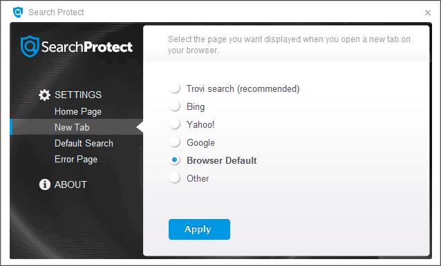 Настройки Search Protect