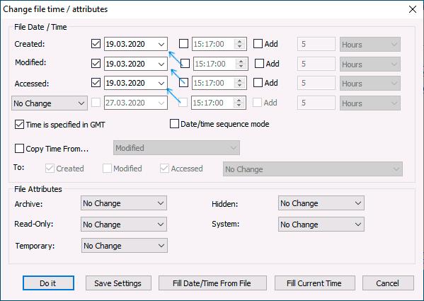 Редактирование данных создания, изменения и открытия файла