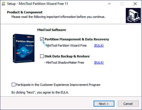 Установка Minitool Partition Wizard Free
