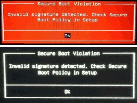 Сообщение Secure Boot Violation Invalid Signature Detected