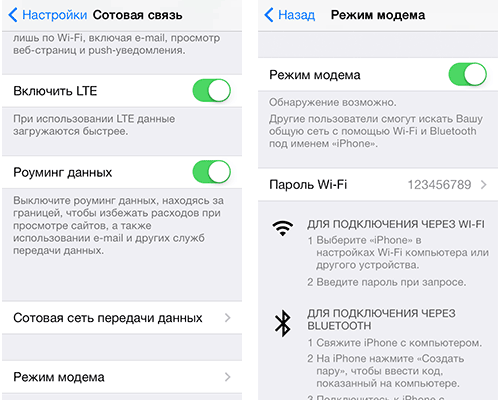 Точка доступа Wi-Fi на iPhone