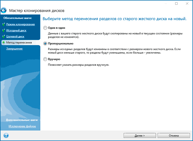 Методы переноса Windows на SSD в Acronis