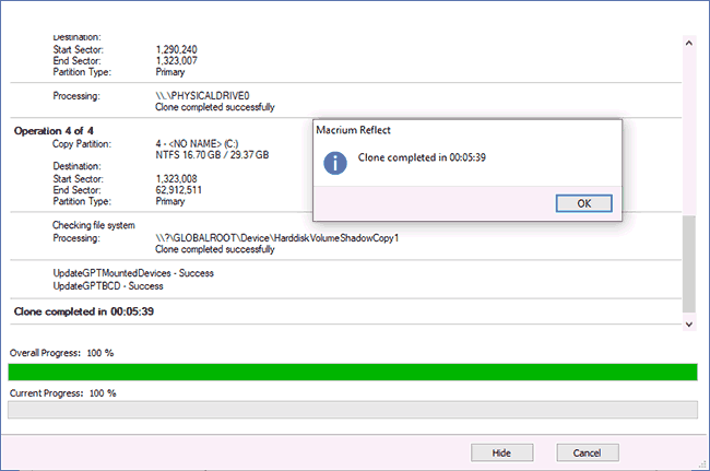 Windows 10 перенесена на другой диск в Macrium Reflect Free