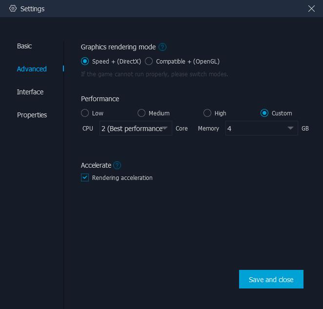 Настройки производительности MuMu App Player