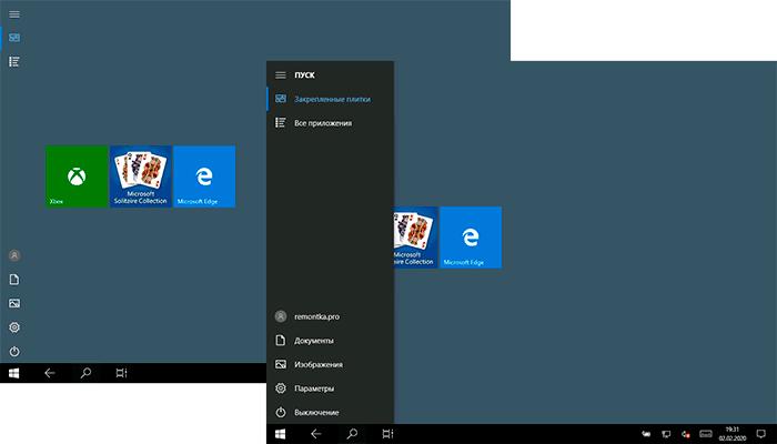 Плитки вместо рабочего стола с иконками в Windows 10