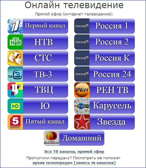 ТВ онлайн на OnTVTime