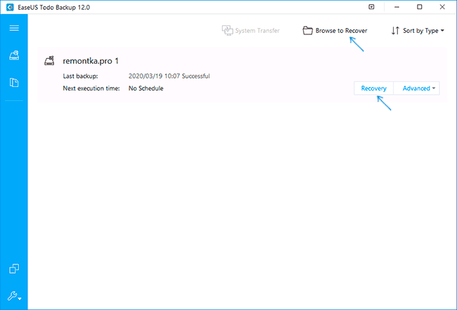 Восстановление из резервной копии в Easeus Todo Backup Free