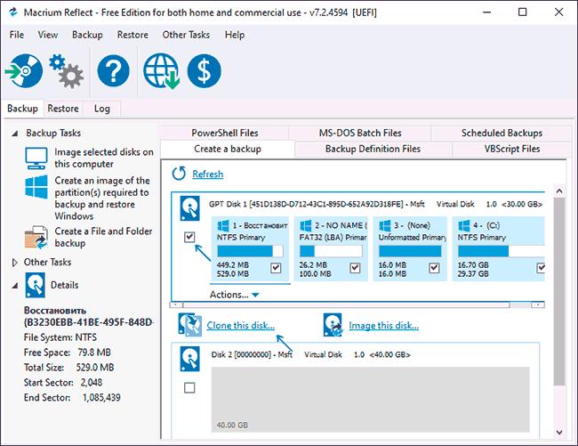 Начать клонирование диска с Windows 10 в Macrium Reflect