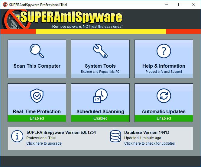 Главное окно SuperAntiSpyWare
