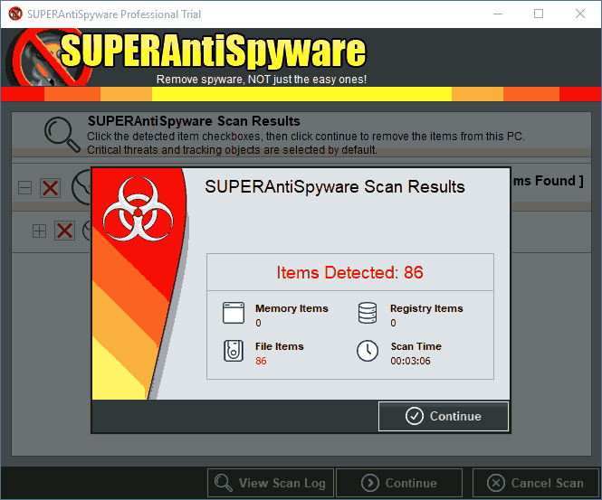 Результат сканирования SuperAntiSpyWare