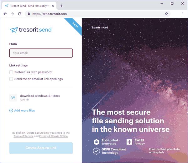 Сервис передачи больших файлов Tresorit Send