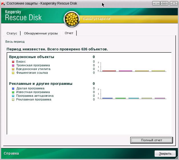 Отчет о результатах проверки в Kaspersky Rescue Disk