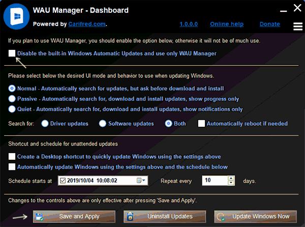 Отключение обновлений в WAU Manager