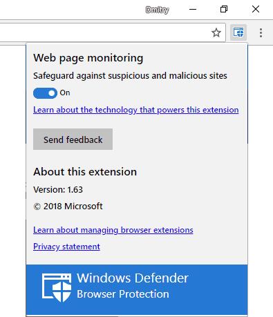 Установленное расширение Windows Defender Browser Protection в Google Chrome