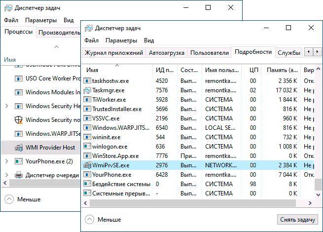 Процесс WMI Provider Host в диспетчере задач