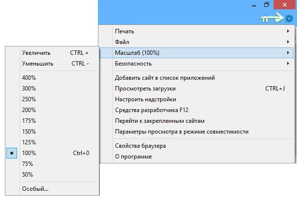 Изменение масштаба в Internet Explorer